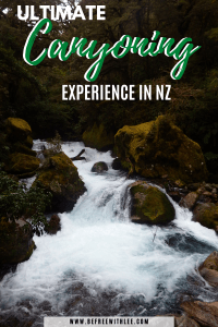 another pinterest image of this article on canyoning in New Zealand