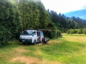 A photo of my campervan parked up at a camping ground a popular option for accommodation in Marlborough Sounds