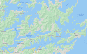 screenshot of a map of marlborough sounds