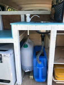 photo of waste water and fresh water for a self contained van