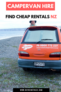 a pinterest photo of this article on Cheap New Zealand campervan hire