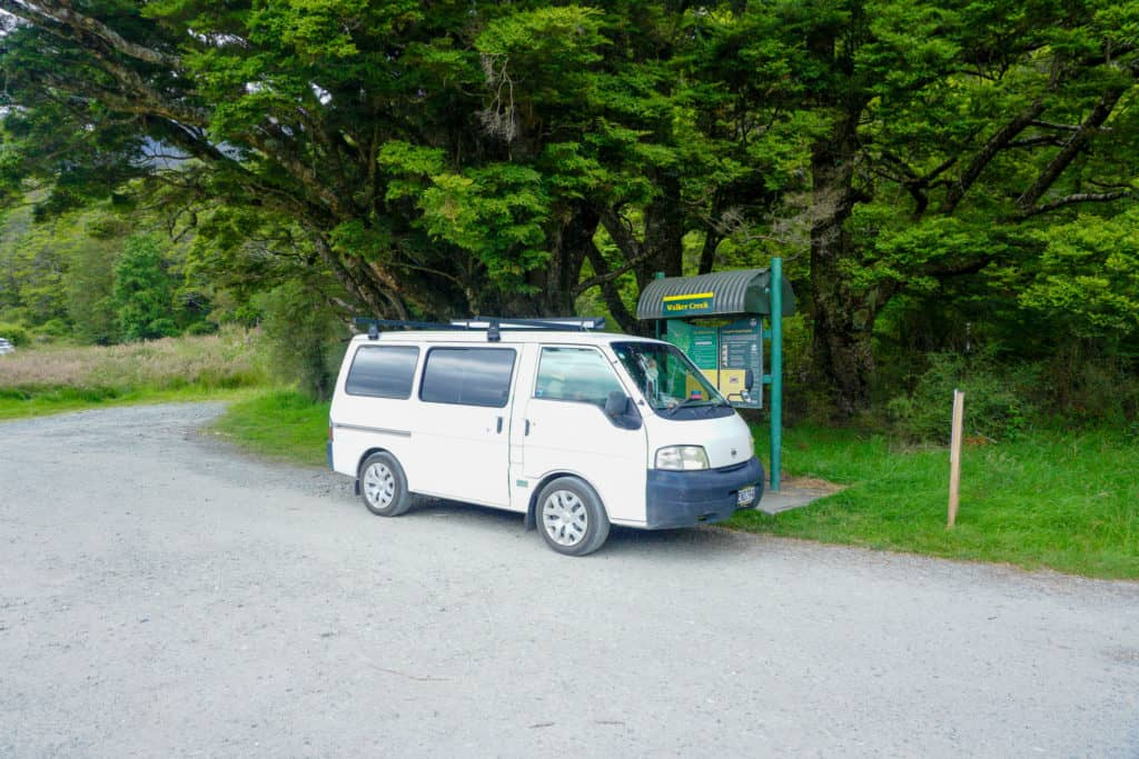 a photo of one of the camping grounds from Queenstown to Milford Sound