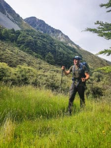 This photo shows how you walk with hiking poles.