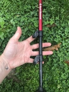 This picture shows how to adjust your hiking poles with the two levers.