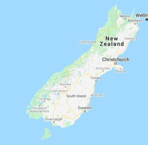 Screen shot of a map of New Zealand South Island from Google maps