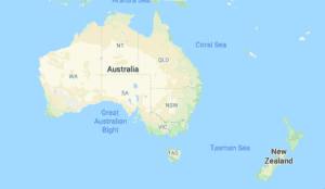Screen shot of a map of New Zealand and Australia from Google maps