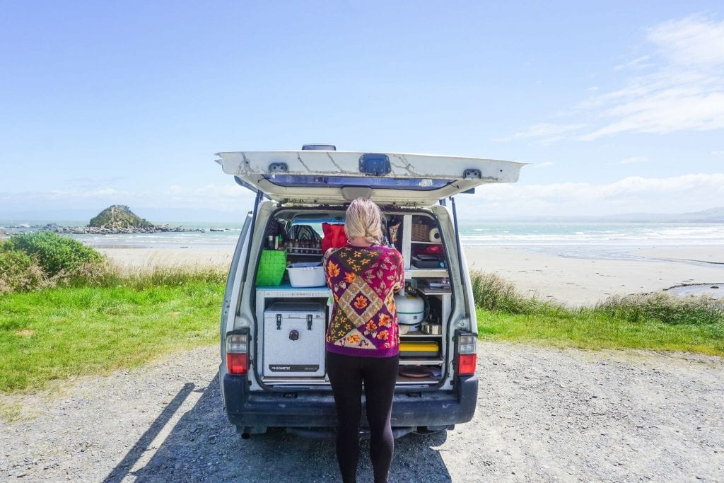 a photo of me in my campervan at Monkey Bay in the southland region