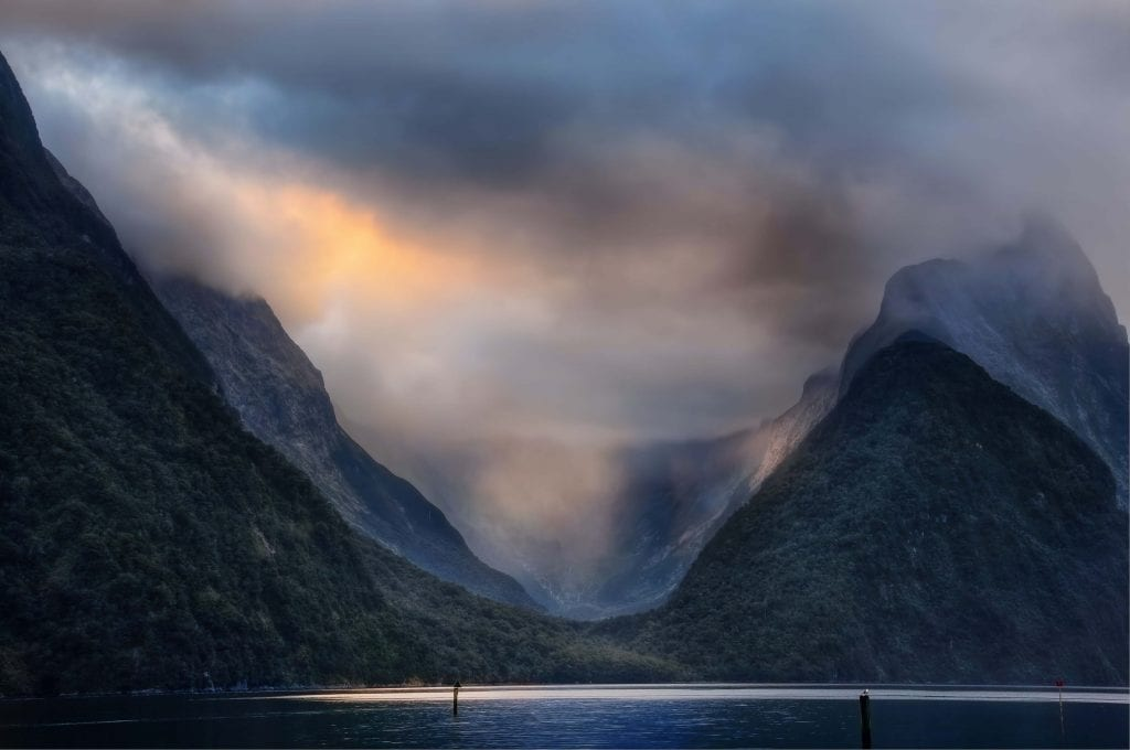 a beautiful moody photo of milford sound