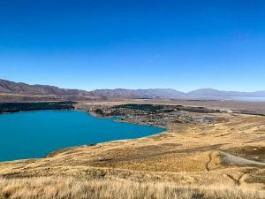 a photo from the top of mount john one of the best things to do in lake tekapo