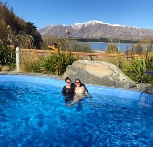 the hot pools is an awesome option when looking for what to do in lake tekapo you can't go past it! A photo of me and my friends sitting in one of them