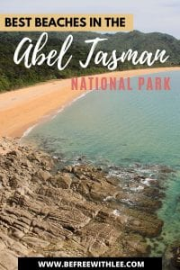 a pinterest image of this article on the best abel tasman beach