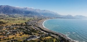 A beautiful view looking down on Kaikoura in the Canterbury region New Zealand
