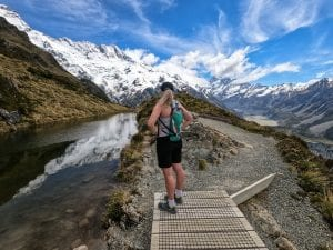 A photo of me standing at the top of Sealy tarns in the Canterbury region New Zealand.