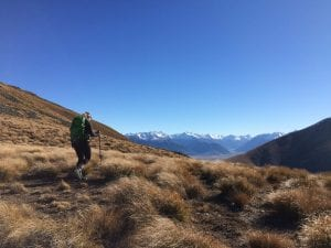 a photo of lee hiking ben ohau in the canterbury region new zealand