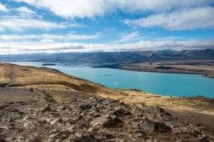 Lake tekapo is one of my favourite destinations to visit while travelling New Zealand in a campervan. This photo is looking down on the stunning lake!