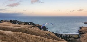 Another photo of a paraglider in banks peninsular Canterbury region New Zealand