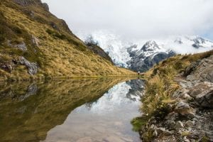 Sealy tarns in mt cook in the canterbury region new zealand