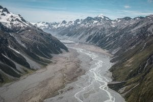 a photo of the braided river in the canterbury region New Zealand