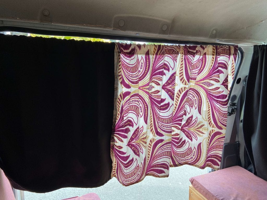 photo of one side of my DIY camper curtains