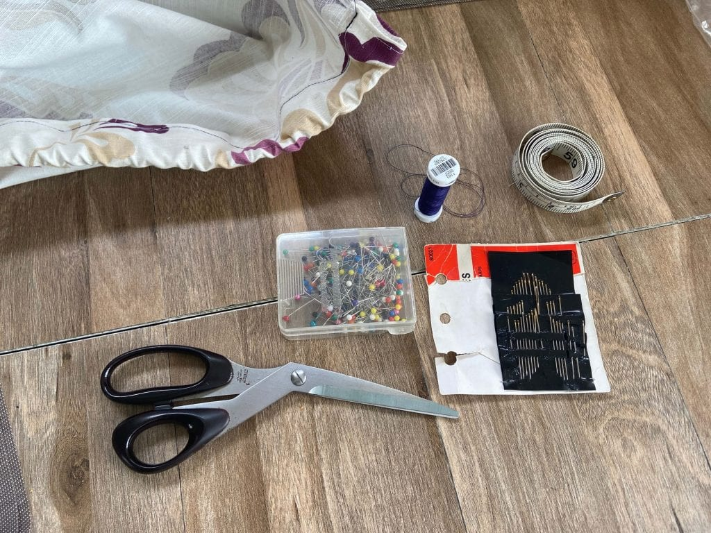 photo of all the equipment you will need for your DIY camper curtains
