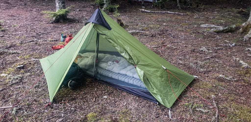 a tent is a essential tramping gear item I suggest taking with you. This is a photo of my lightweight tent